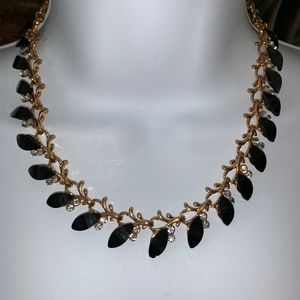 Black Stones Gold Toned Vintage Necklace